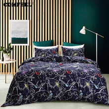 COMFEEL US Size Cotton Bedding Sets Dark Blue Cosmic Galaxy Duvet Cover Set with 2 Pillowcase for King Queen Twin Size Quilt Bed