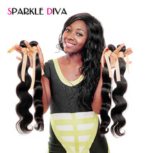 Sparkle Diva Hair Peruvian Body Wave 100% Human Hair Weave Bundles Remy Hair Extensions 10″-28″ 1 PC Natural Color Free Shipping