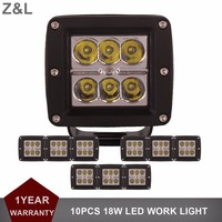 10pcs CREE 18W 3Inch LED Work Light 12V 24V For Car Motorcycle Truck SUV Bicycle ATV