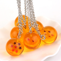 wholesale Anime Dragon Ball Z necklace orange pvc 7stars Goku Dragonball Chain Necklace plastic pendant llavero chaveiro A-1225