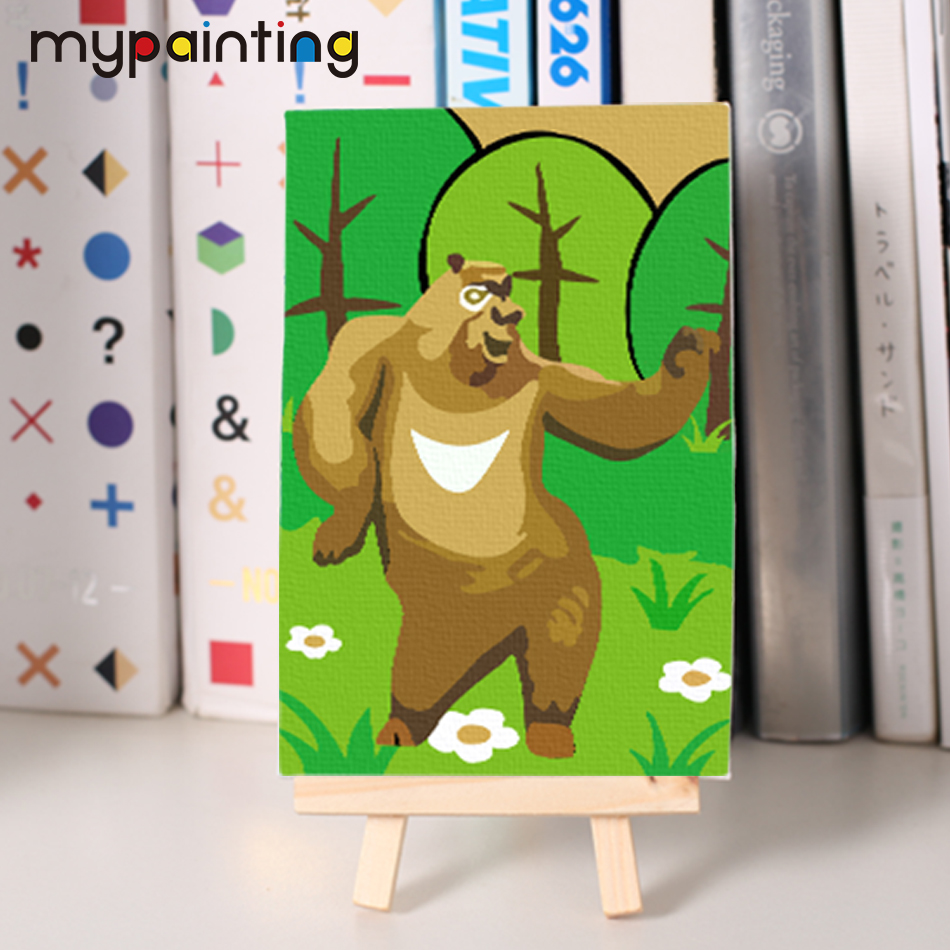 children diy oil Painting by numbers bear two coloring by number ...