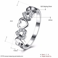 100 Fasion 925 Pure Silver Five Heart Shaped Ring Wedding Ring AAA