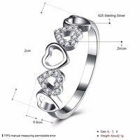 100% fasion 925 cinco en forma de corazón de plata pura anillo de Boda anillo de AAA + + +