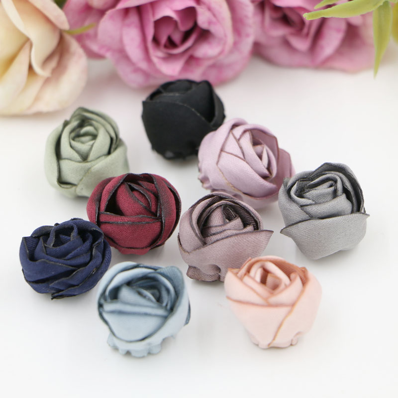 30pcs/lot Colorful Printing Burn Rose Buds Shape Handmade Flowers Diy Jewelry Headwear/Hair/Garments/Shose decoration accessory