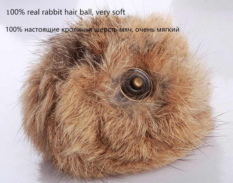 ... Warm Children Winter Baseball Cap 100% Real Rabbit Hair Ball Sports  Golf Hat Kid Winter 3705b9d3d635