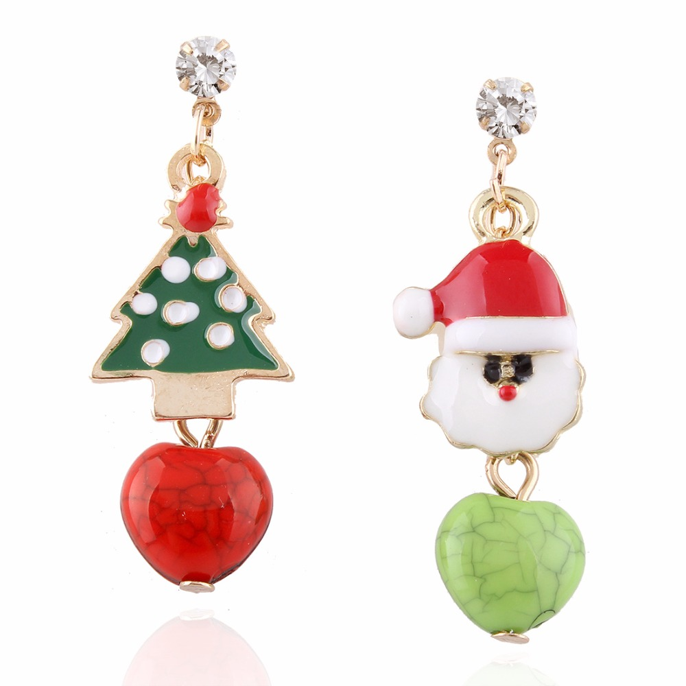 Enamel Colorful Christmas Tree And Red Heart Bead Drop Metal Post Earrings  Gift For Girlfriend Fashion