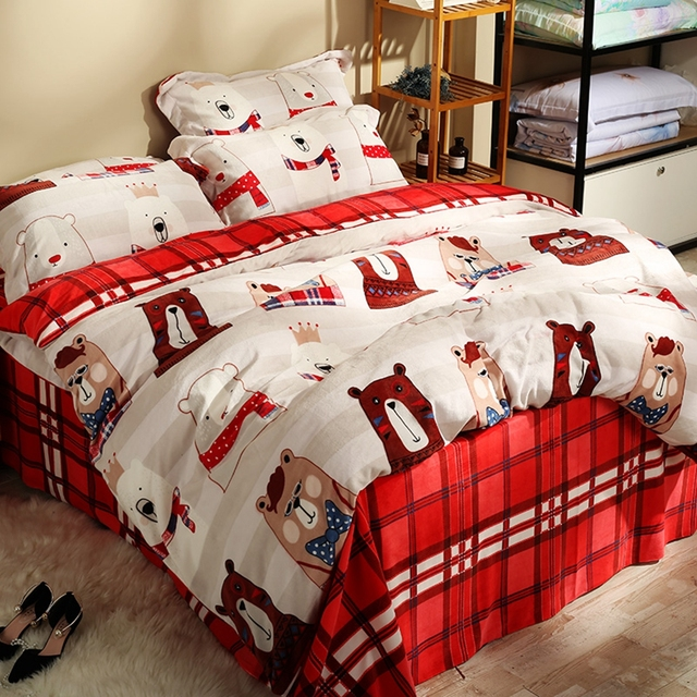 Winter Warm Flannel Cartoon Bear Duvet Cover Set Red Plaid Bed Sheets White Pillow Case Queen King Fleece Bedding Sets