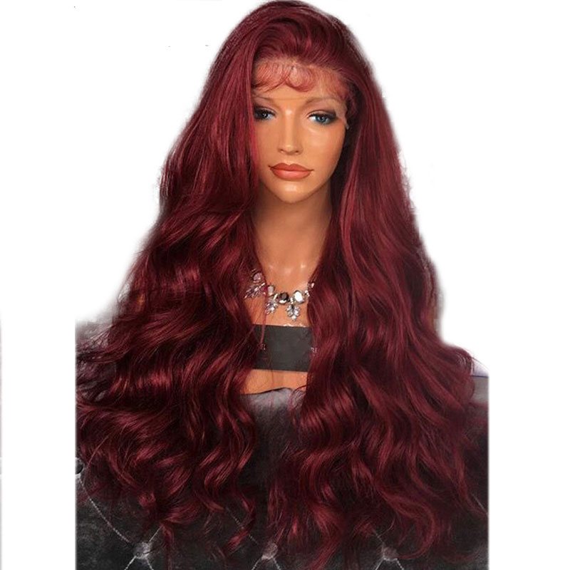 Bombshell Wine Red Body Wave Hand Tied Synthetic Lace Front Wig Heat Resistant Fiber Natural Hairline