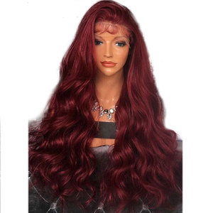 Image 1 - Bombshell Wine Red Body Wave Hand Tied Synthetic Lace Front Wig Heat Resistant Fiber Natural Hairline With Baby Hair For Women