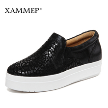 XAMMEP Women Flats Spring Autumn Brand Women Shoes Women Sneakers Split Leather Flat Platform Casual Shoes Slip-on Round Toe(China)