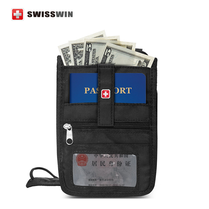 New Swisswin Passport Wallet Anti-theft Security Travel Wallet Neck Pouch for drivers license Boarding Pass Holder бумажник на шею acecamp security neck wallet