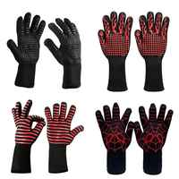 1pair Fire Gloves High Temperature Resistant Gloves Microwave Oven Outdoor Barbecue 932F -1472F BBQ Hot Flame Proof Working Glov