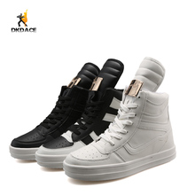 Men's Sports Shoes Anti-skid Breathable Lace-up Mesh Upper Outdoor Skateboarding Shoes PU White Black