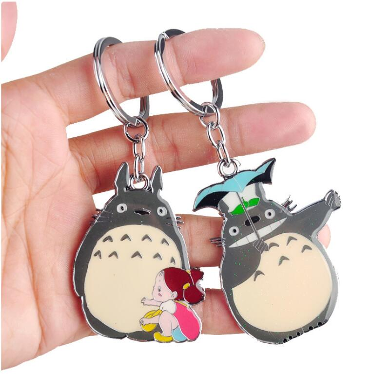 W1000 New Arrival Cute Japanese Anime Gray My Neighbor Totoro Keychain Metal Figures Pendants Key Chains anime my neighbour totoro cute card bag wallet holder zipper kawaii gray hanging