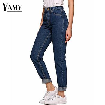 2019 koreański styl kobiety ołówkowe spodnie jeansowe wysokiej talii dżinsy kobieta na co dzień dżinsy vintage chłopaka dżinsy dla mamy światła niebieski streetwear tanie i dobre opinie YAMY Pełnej długości COTTON high waisted jeans Plaid Ołówek spodnie REGULAR light Wysoka Fałszywe zamki Bielone Kieszenie