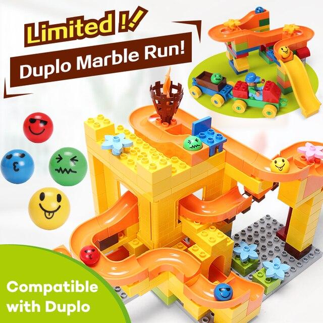 Funlock Duplo Marble Race Run Slide Construction Building Blocks Set for kids Learning Educational Toys Bricks for Children
