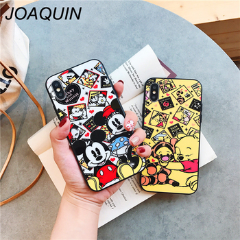 Tempered Glass Case For iPhone X XR XS MAX Lovely Mickey Mouse Winnie Pooh Soft Silicone Bumper For iPhone 7 6S 8 Plus 6 Plus winnie the pooh iphone case