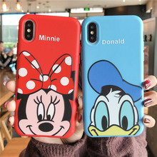 Cartoon scrub silicone soft case for iphone brand 6s 6 8 7 plus xs red Minnie relief Thicken cover for iphone7 x xr xs max cases sandn red iphone7 47inch