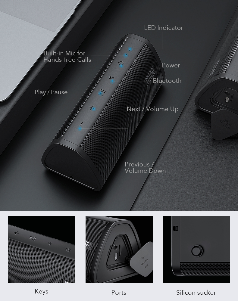 Mifa Bluetooth speaker Portable Wireless Loudspeaker Sound System 10W stereo Music surround Waterproof Outdoor Speaker