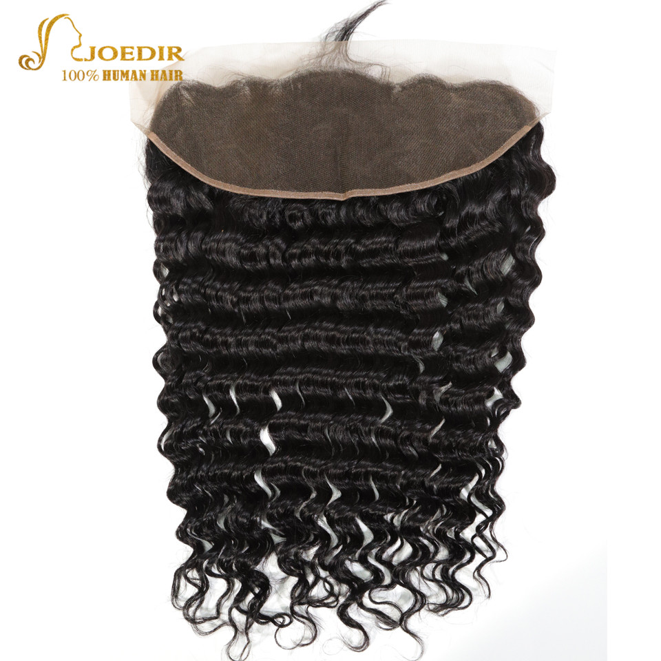 Joedir Hair Swiss Lace Frontal Brazilian Virgin Hair Lace Frontal Closure With Baby Hair Natural Color 8-20inch Deep Wave Front