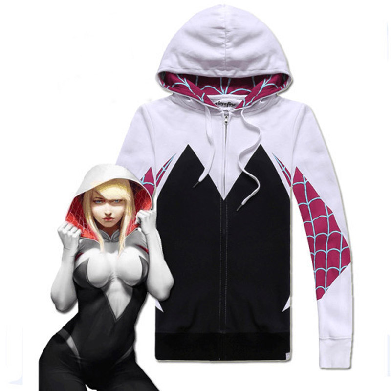 Adult Unisex Anime Venom Spiderman Gwen Hooded Hoodie Jacket 3D Print Costumes Cosplay For Woman Man Plus Size
