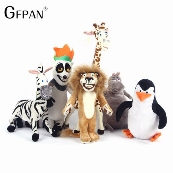 6pcs/set Hot Sale Wholesale Madagascar Plush Toys Lion Zebra Giraffe Monkey Penguin Hippo Children Party Gifts For Kids Baby