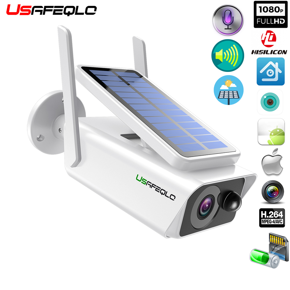 USAFEQLO Wide View Surveillance Camera Solar Panel Rechargeable Battery 1080P Full HD Outdoor Indoor Security WiFi IP Camera Cam