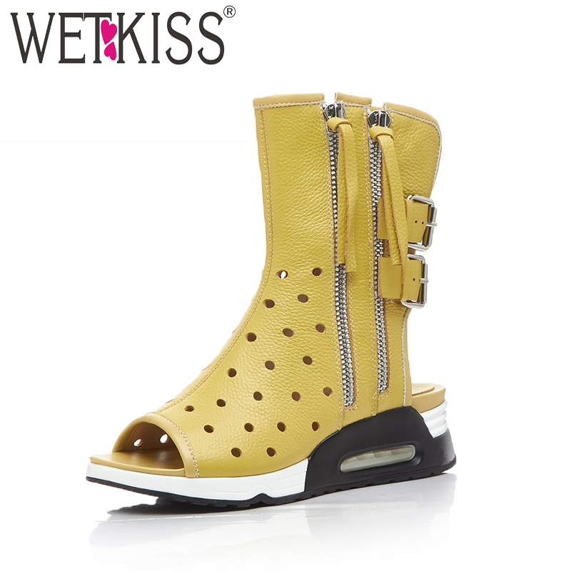 WETKISS 2018 New Genuine Leather Summer Boots Peep Toe High Neck Platform Footwear Cutout Wedges Zipper High Heeled Girl Shoes