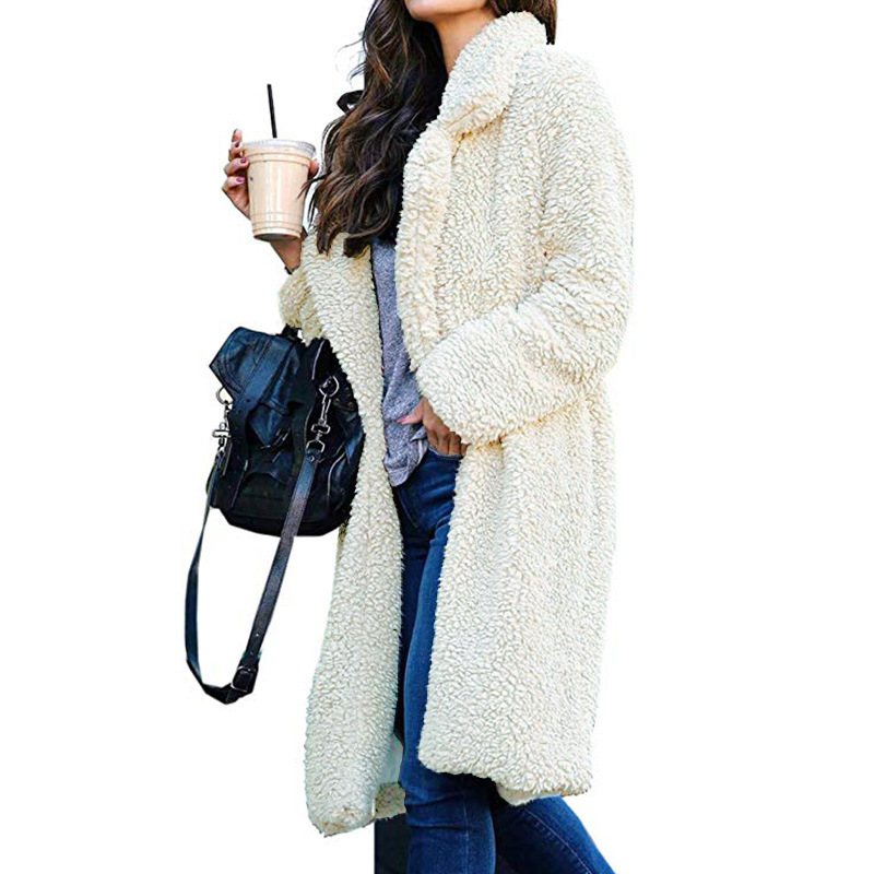 Long Coats Fleece Jackets Winter Warm Teddy Coat Cardigan Office Lady Sexy Women Wool Blends Full Tops Overcoats Plus Size 6
