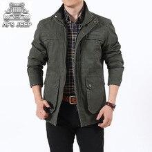 купить AFS JEEP Mid-Long Style Size L-7XL Wash Nature Cotton 100%  Men Jackets and Coats Autumn Winter Windbreaker Loose Plus Size дешево