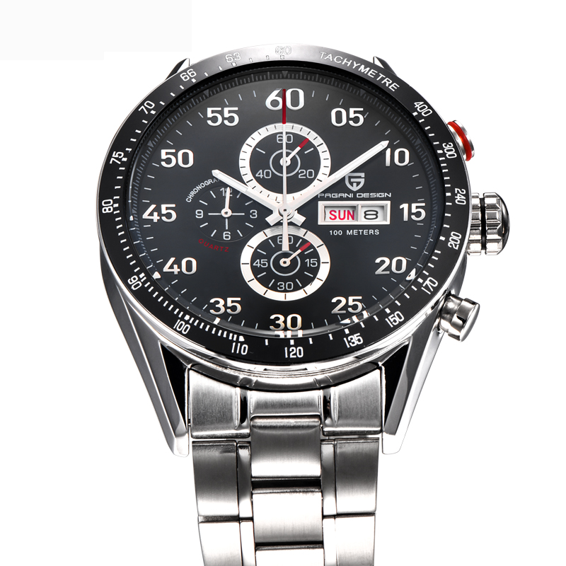 ФОТО Men's Full Steel Quartz Watch Waterproof Outdoor Sport Watches Men Top Luxury Brand Pagani Design Multifunction Military Watches