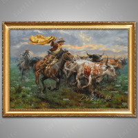 Hand painted canvas oil paintings Western Cowboy Oil painting on canvas wall pictures for living room wall art canvas Horse 11