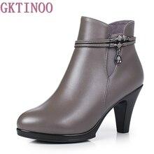 Женские ботинки на платформе, модные ботинки из натуральной кожи на высоком каблуке, Осень зима 2019