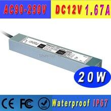 Dc12v ip67 wasserdichte led-netzteil ac90-260v Eingang 20w 12v ausgangs-led-treiber trafo schaltnetzteil 12v