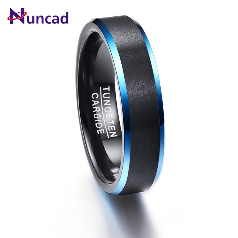 2019 matte polish blue beveled polish 6mm width 100% genuine black wedding band elegance tungsten carbide rings for men(China)