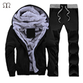 Fashion Men Tracksuit New Arrival Winter Casual Hooded Warm Tracksuit Sportwear Male Winter Thick Fleece Slim Fit Hoodie Sets