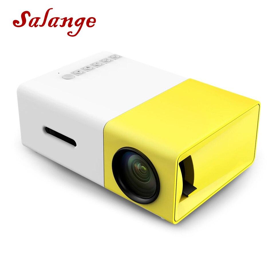 Salange yg300 led projetor 600 lúmen 3.5mm áudio 320x240 pixels YG-300 hdmi usb mini projetor casa media player
