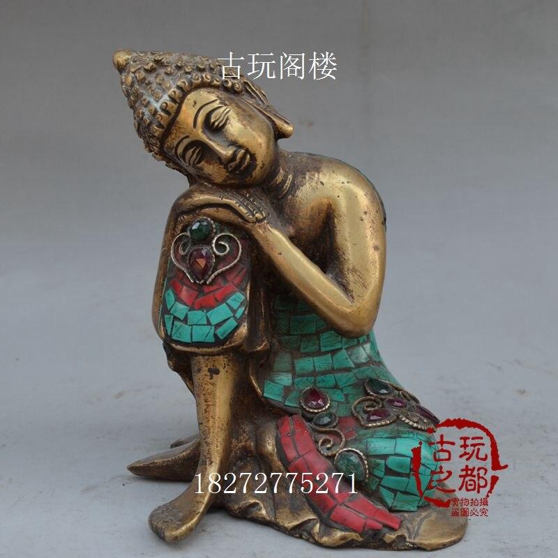 Nepal old bronze Turquoise inlaid stone Buddha statue of Sakyamuni Buddh