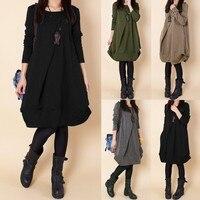 2018 Autumn Winter Dress Womens O neck Long Sleeve Folds Vintage Loose Casual Solid Pockets Short Dresses Vestidos