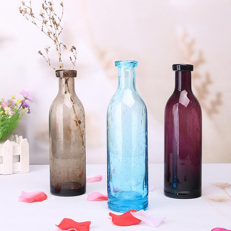 Zakka Nordic style blue bubble glass vases Hand-blown flower vases table vase Home Decoration