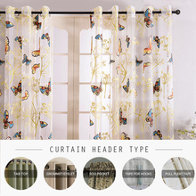 Top Finel 2016 Butterfly Curtains Tulle Window Curtain for Living Room Bedroom Kitchen Curtains Printed Sheer Voile Curtains