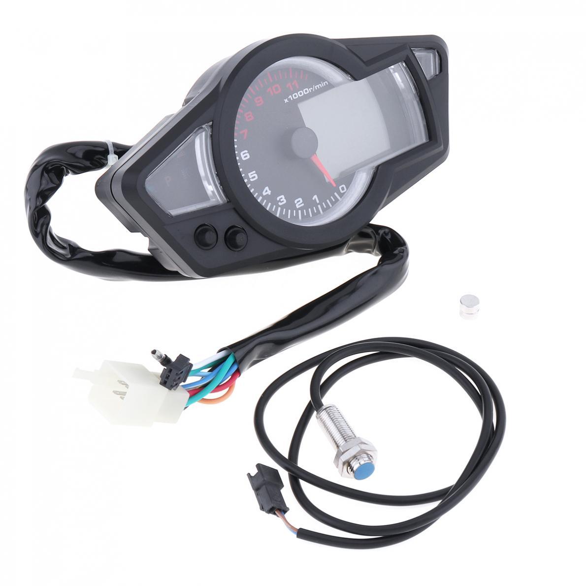 ユニバーサル黒タコメータブルー LCD バックライトスピードメーター走行距離オートバイ計器パネル