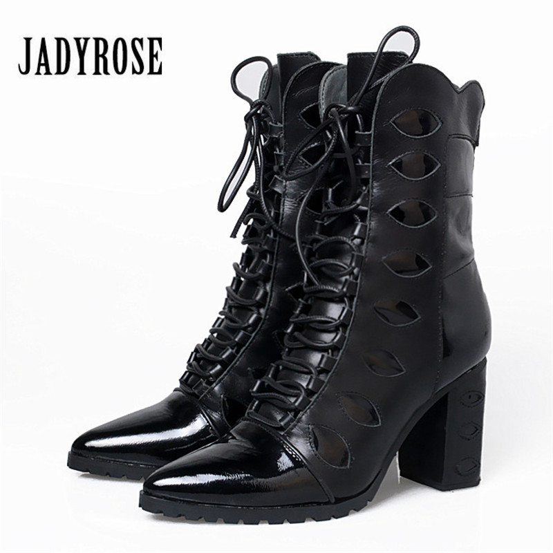 Jady Rose Mixed Color Women Ankle Boots Pointed Toe Chunky High Heel Booties Suede Lace Up Botas Mujer Women Pumps jady rose fashion camouflage ankle boots for women lace up hollow out high boots chunky high heel botas mujer women pumps