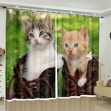 Cute Cat Curtains Patterned Fabric Blackout for Living Room Bedroom Kitchen Dormitorio Decor Modern Window Drapery