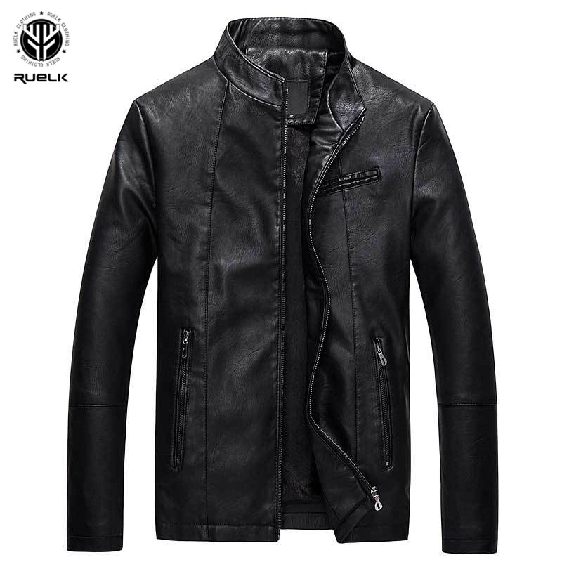 RUELK 2018 New Arrive Brand Motorcycle Leather Jacket Mens Leather Jacket Jaqueta De Couro Masculina Mens Leather Jackets Coats