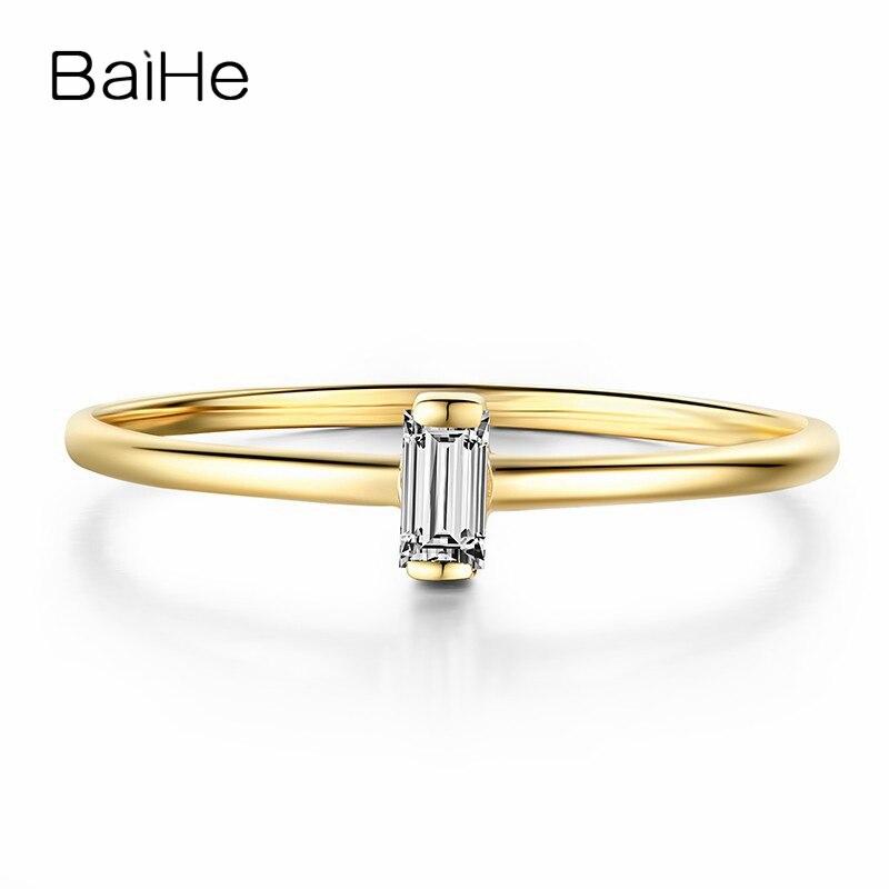 BAIHE Solid 14 К желтого золота 0.05CT Certified H/SI лестница СТОРОНА из натуральной бриллиантами Обручение Для женщин Мода тонкой jewelry Кольцо