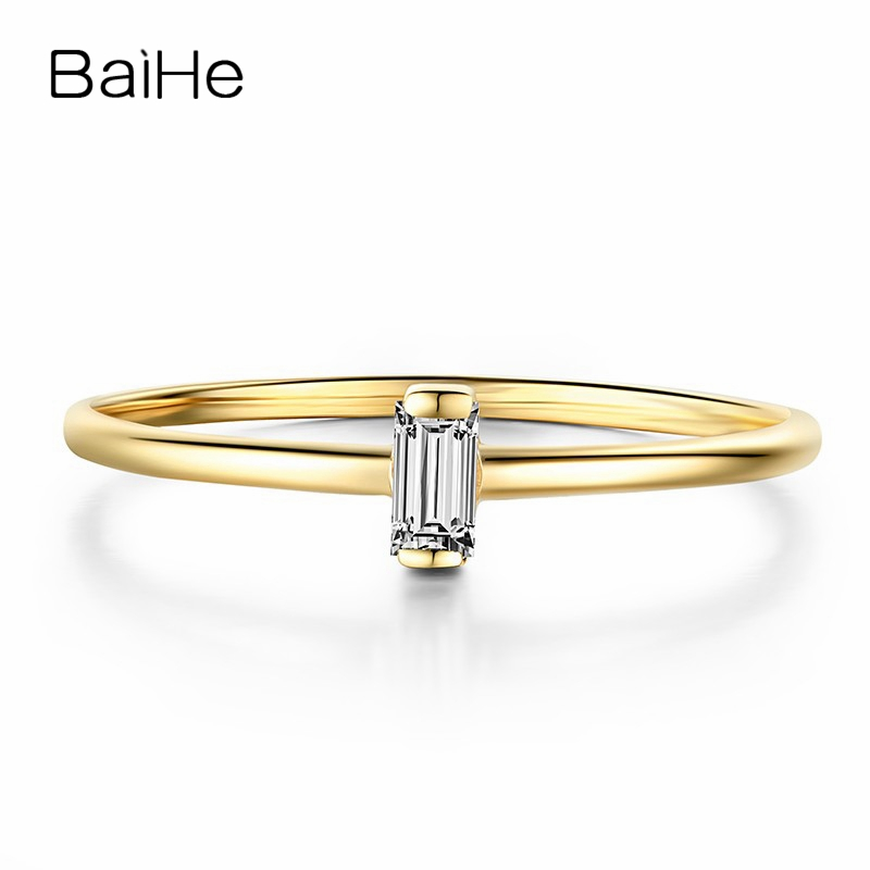 BAIHE Solid 14K Yellow Gold 0.05CT Certified H/SI Ladder side Genuine Natural Diamonds Engagement Women Trendy Fine Jewelry Ring