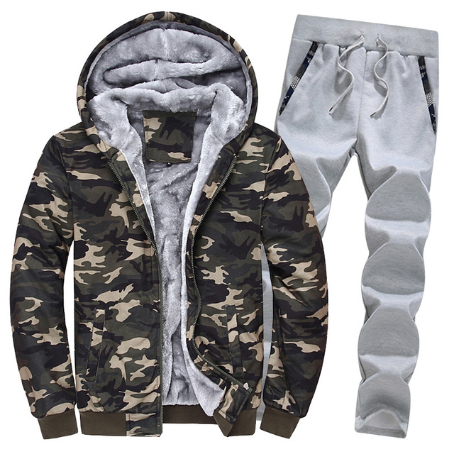 Camouflage Fleece Hoodie Outwear 2 Pieces Set 2
