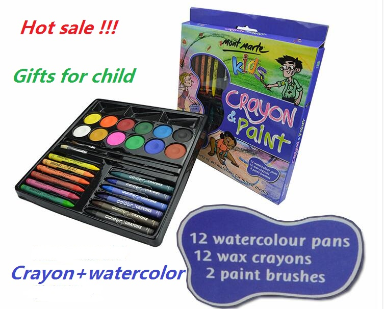 Children 's Painting Set Crayon Pastel +watercolor 26 sets of activities Lottery training students gifts birthday gift to share lottery boy