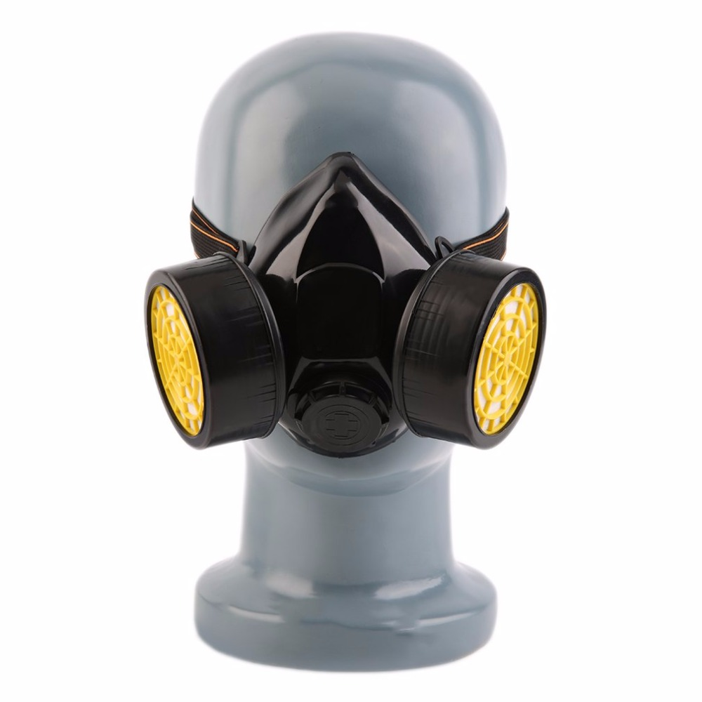 Black Gas Mask Emergency Survival Safety Respiratory Gas Mask Anti Dust Paint Respirator Mask with 2 Dual Protective Filter